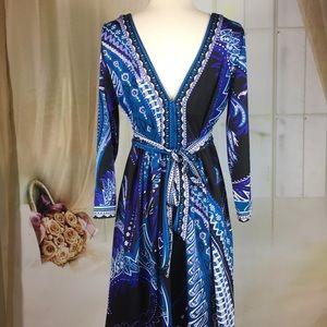 New York & Company Dresses - New York & Co Blue Low Cut Dress